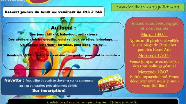 Programme jeunesse de la semaine du 15 au 19 juillet